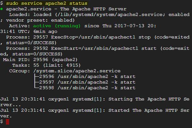 service apache2 status