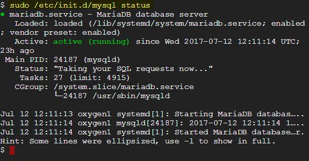 sudo /etc/init.d/mysql status
