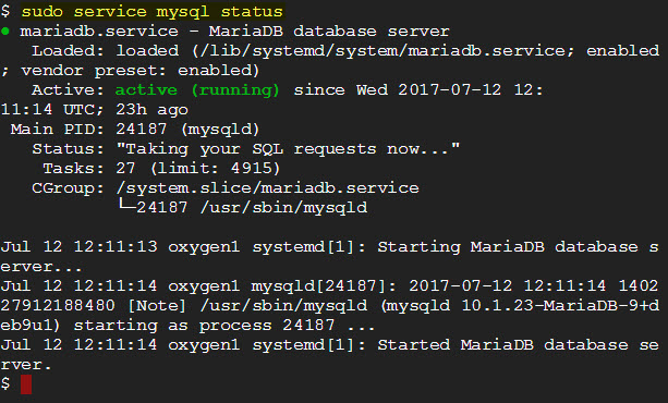 sudo service mysql status